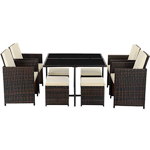SONGMICS Conjunto de 9 Muebles de jardín de ratán, Exterior, 4 sillas y 4 taburetes, Centro de Mesa con Tapa de Cristal, con Cojines, Fácil de Guardar, Ahorra Espacio, Marrón y Beige GGF009K01