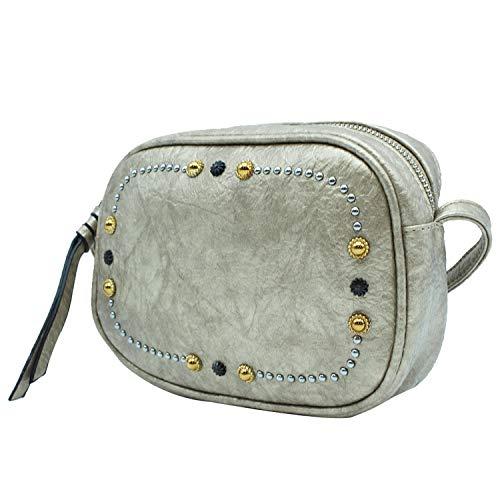 MISEMIYA - Borsa a Tracolla Borse Tracolla Donna borsa a Tracolla donna SR-J564(23 * 21 * 18) - PLATEADO