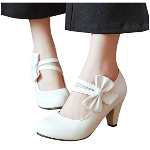 Best Review Of Xinantime Womens Square Heeled Single Shoes Hipster Bow Casual Sandals Ladies High He...