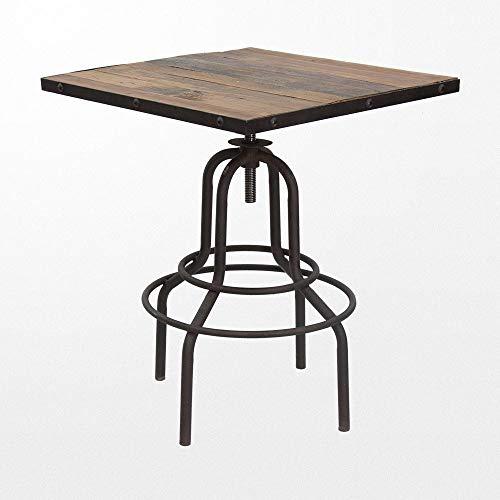 Atypik Home Table de Bar 65 x 65 x 86 cm carrée Industrielle sur Ses Pieds en Fer