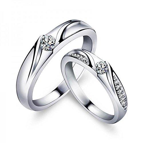 925 Sterling Silver Couple Ring Cubic Ranking TOP3 Zircon Weddin Lover's 4 years warranty