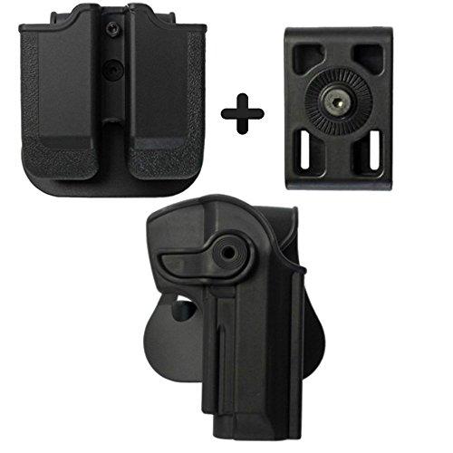 IMI Defense Z1250Tactical Combo Kit roto Retention Paddle Holster + Double Magazine Pouch + Belt Holster Attachment for Beretta 92, llama 82& Cheetah FS 85, yavuz-16Pistol Handgun