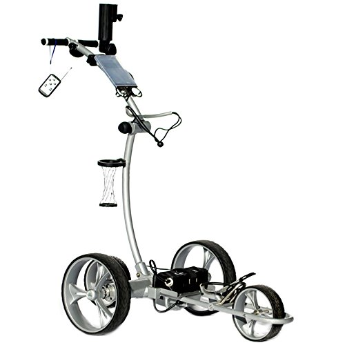 Cart Tek Gri-1500Li (Silver) Remote Power Electric Golf Caddy with Free Accessories