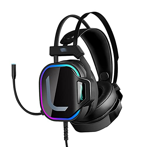 Atsti Head Set Gaming -Wired Gaming Headset, with Microphone, Headset with Noise Canceling Mic Compatible with PC, Playstation, Xbox - Black