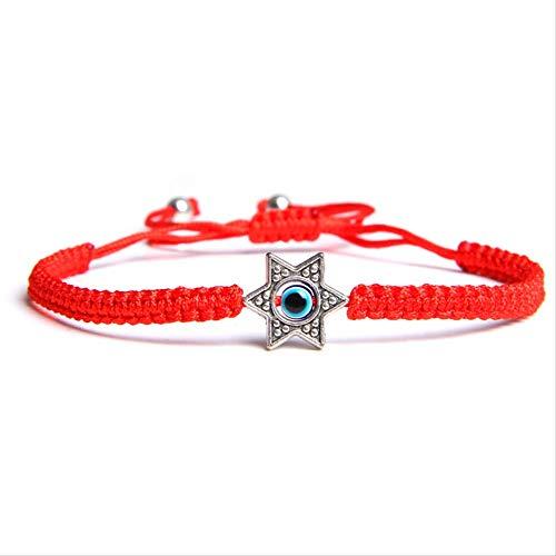 HMANE Lucky Rojo Cadena Turco Mal Ojo hexagrama Encanto Pulseras Ajustables protección Suerte Hilo Cuerda Amuleto joyería joyería Regalo