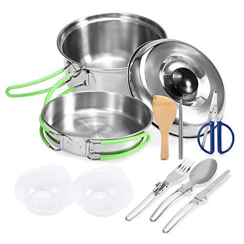 Lixada Camping casseroles kit de Mess randonnée Sac à Dos randonnée Pique-Nique en Plein air marmite et pan Set