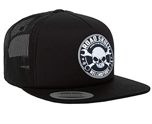 HELLMOTORS Road Skull Herren oder Damen Snapback Cap Skull Unisex Old School Kappe schwarz