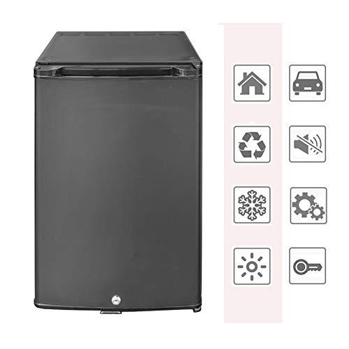 dorm refrigerator with locks SMETA 12V Mini Fridge Quiet Compact Refrigerator with Lock Small Cooler 1.76 Cu. Ft Silent Hotel Mini Bar Zero Noise Absorption Fridge for Bedroom Hotel Dorm Apartment, Black