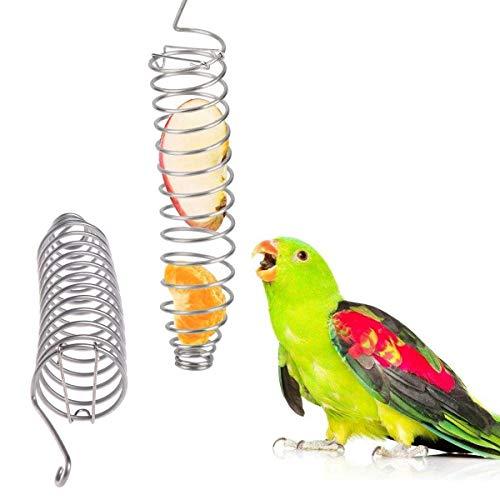 Xiuyer Brochetas Frutas Pájaros, 3pcs Acero Inoxidable Colgar Fruta Vegetal Carne Comedero Pájaros Espiral Brocheta Verduras Loros Alimento Palitos Cestas Alimentos para Loros Cacatúas Pájaros