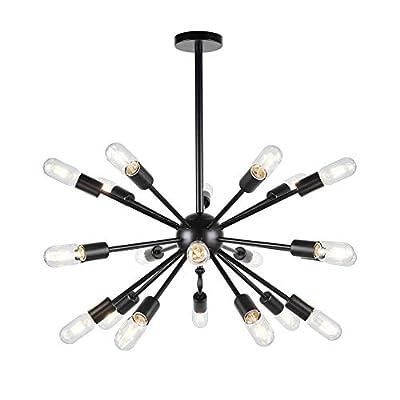 Dimmable Sputnik Chandelier Fixture with 18 Lights Rustic Pendant Lighting Industrial Hanging Ceiling Light Black