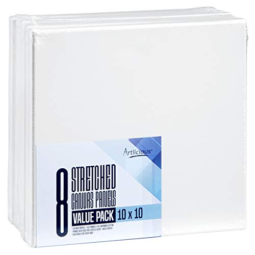 Artlicious - Super Value 8 Pack - 10x10 Pre-Stretched Cotton Canvas Panel Boards - Use with All Acrylics, Oils and Other Painting Media