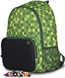 Pixel Dual Compartment Backpack - DIY Design (Green/Black)