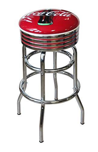 Vitro Seating Products 215-782CBB Coca-Cola Bullseye Chrome Double Ring Swivel Stool, Red and White