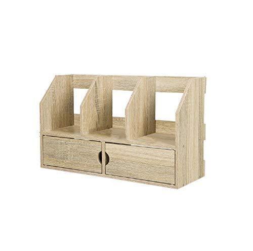 XYZX boekenkast voor op het bureau, werkblad, boekenrek, kantoorplank, met lade, werkplek