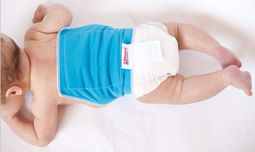 Image of Blowout Blocker Diaper Extension for Disposable Diapers (Blue) - Catch Up The Back Diaper Blowout Leaks! Works with Pampers, Huggies, Luvs, or Any Other Brand. Use with Diaper Size Newborn and up.