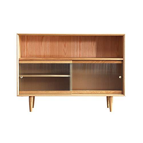 NeoMcc Armarios Independientes Aparadores Oak Wood Accent Kitchen Aparador Aparador Buffet Bar Gabinete Armario de Almacenamiento Armario de Buffets (Color : Wood, Size : 120x40x88cm)