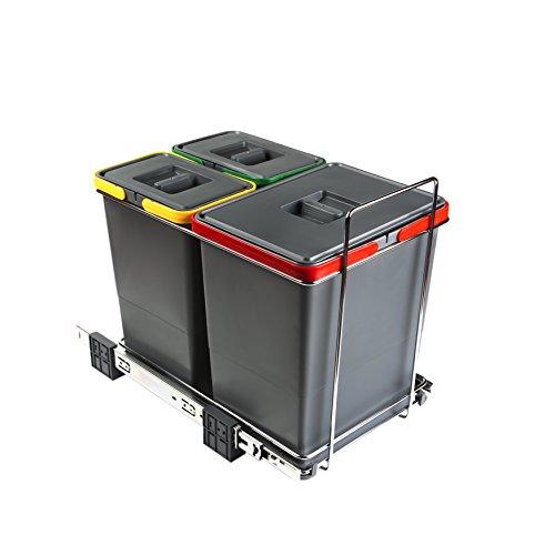 ELLETIPI Ecofil PF0134B1Mülleimer Mülltrennung, ausziehbar für Base, Kunststoff und Metall, Grau, 30x 45x 36cm