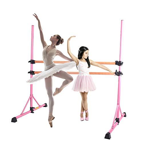 Z ZELUS Barra de Ballet Portátil 79 cm-152 cm Barra de Ballet Doble para Niños Barra de Ballet Ajustable Ballet Barre de Alta Resistencia para el Hogar (Rosa)