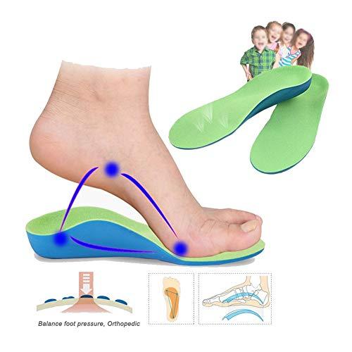 WDSFT Plantillas para Zapatos Desodorante Suela 1 Par 3D ortopédicos Plantillas pies Planos for los niños la Ayuda de Arco Plantilla for X-piernas del niño Niños Zapatos ortopédicos Foot Care