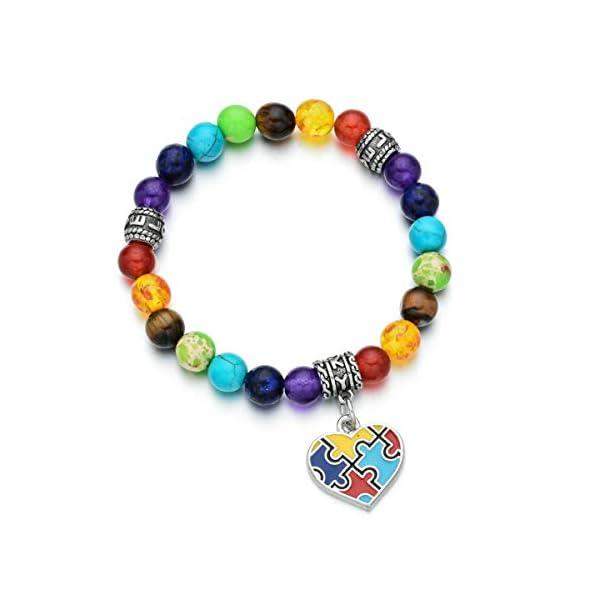 Pdouself Puzzle Piece Autism Autistic Bracelet 7 Chakra Beads Elastic Jewelry Bracelet