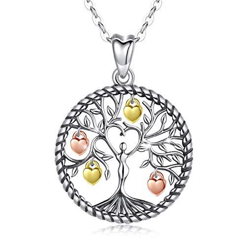 Eusense Kette Lebensbaum, Baum des Lebens Anhänger, 925 Sterling Silber Schmuck für Damen Mädchen