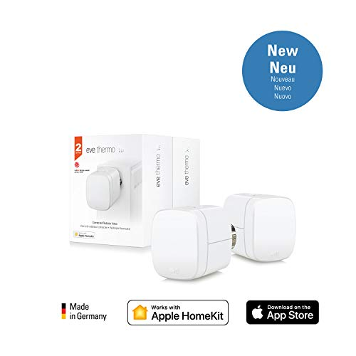 Eve Thermo (2-Pack) - Smartes Heizkörperthermostat mit LED-Display, automatischer Temperatursteuerung, keine Bridge erforderlich, integriertes Touch-Bedienfeld, Bluetooth Low Energy, Apple HomeKit