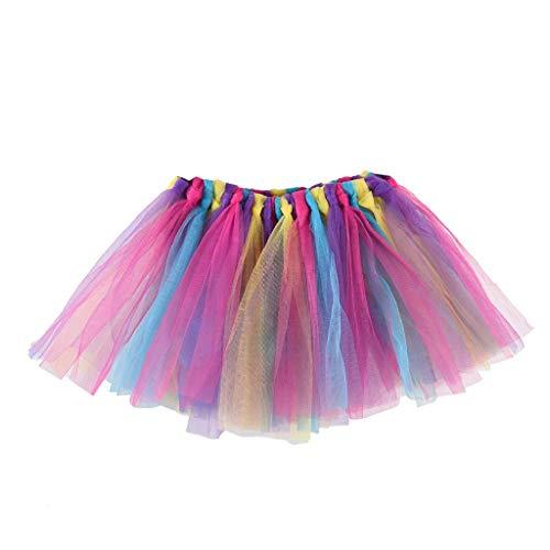 Falda del Tutu para Niña,SHOBDW Niños Bebé Regalos de Cumpleaños Elasticidad Fluffy Layered Rainbow Mini Pettiskirt Ballet Falda Fiesta de Regalo de Cumpleaños Traje de Baile(C)