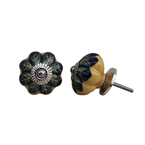 10 piezas de cerámica artesanal Indianshelf Amarillo Azul Leaf cajón archivador pomos de puertas armario APARADOR Aparador tira de nuevo en línea