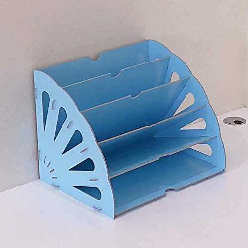 SSWD Organizador de madera para revistas, papeles y documentos (azul)