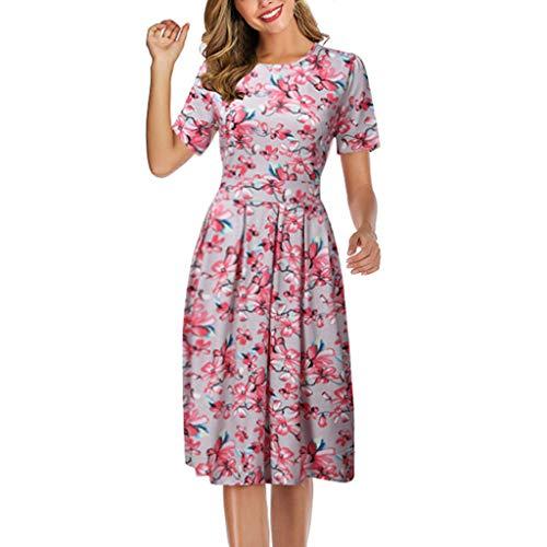 Wtouhe Damen Kleid, 2020 Sommer, modisch, Minikleid, kurzärmelig, Rundhalsausschnitt, Bohemian Rosa, Blumendruck, Retro Chic Zeremonie Damen Kleid Empire Midi Swing Kleid Gr. XXXL , Rosa 4