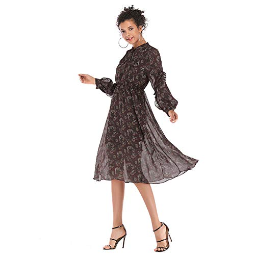 YYH Damesjurk, print, strand-maxi-jurk, chiffon, zomerjurk Large bruin