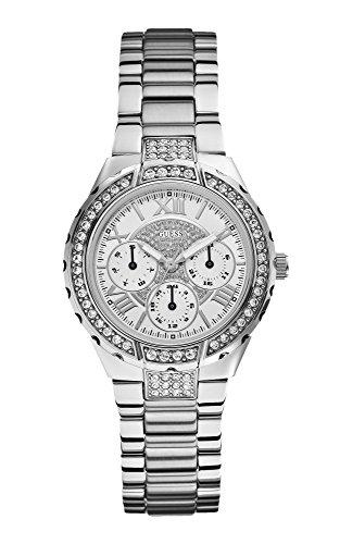 GUESS dames zilveren armband horloge met kristallen