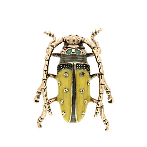 Sweet Deluxe Brosche Käfer, antiksilber/gelb I ausgefallene Blusenbrosche für Damen & Mädchen I Frauen-Brosche für Abendkleid & Bluse I Anstecknadel