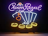 LDGJ Crown Royal Poker Play Today Neon Light Sign Home Beer Bar Pub Recreation Room Game Lights Windows Glass Wall Signs Party Birthday Bedroom Bedside Table Decoration Gifts (Not LED)
