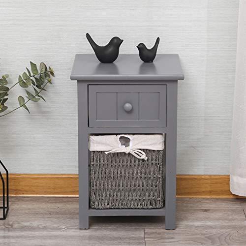 """NAN Mesa de gabinete de cabecera de madera estilo shabby chic blanco ALMACENAMIENTO DE LA CESTA ENSAMBLADO DORMITORIO DEL BAÑO (45 cm (H) x 28 cm (Ancho) x 31 cm (D) - 17 """"11"""" 12 pulgadas)"""