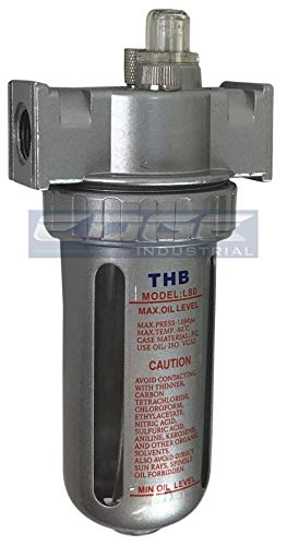 MID FLOW LUBRICATOR OILER FOR COMPRESSED AIR LUBRICATE PNEUMATIC AIR TOOLS, POLY BOWL WITH METAL BOWL GUARD (1/2' NPT)