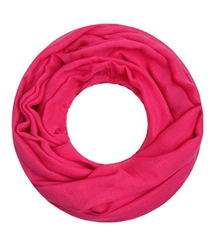 Majea Loop Cary Basic Schal Tuch Damen-schal Schlauchschal Rundschal Halstücher uni unifarben Loopschal einfarbig (pink 1)