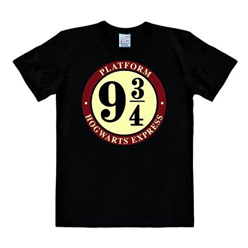 Logoshirt Film - Harry Potter - Zweinstein Express - Platform 9 3/4 - Logo - T-shirt met korte mouwen voor mannen - Zwart - Gelicenseerd origineel ontwerp, maat 3XL
