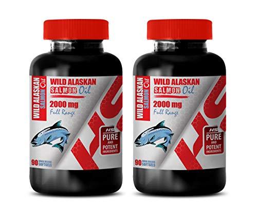 Brain Function and Focus Pills - Wild Alaskan Salmon Oil 2000 Mg Full Range - Fish Oil Supplement - 2 Bottles 180 Softgels