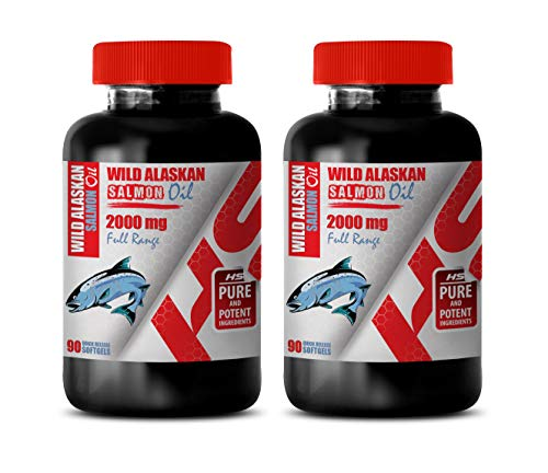 Brain Function and Focus Pills - Wild Alaskan Salmon Oil 2000 Mg Full Range - Fish Oil Supplement - 2 Bottles 180 Softgels