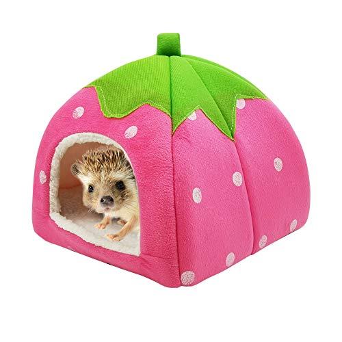 2-in-1 Hamster Haus Erdbeere Ratte Sofa Couch Rennmäuse Nest Höhle Warm Totoro Zelt rutschfest Schlafbett für Meerschweinchen Chinchilla Eichhörnchen Igel Nerz, waschbare Matte, Rot 26 * 26 * 28cm