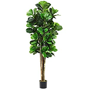 Goplus Fake Fiddle Leaf Fig Tree Artificial Greenery Plants in Pots Decorative Trees for Home & Office (4ft)