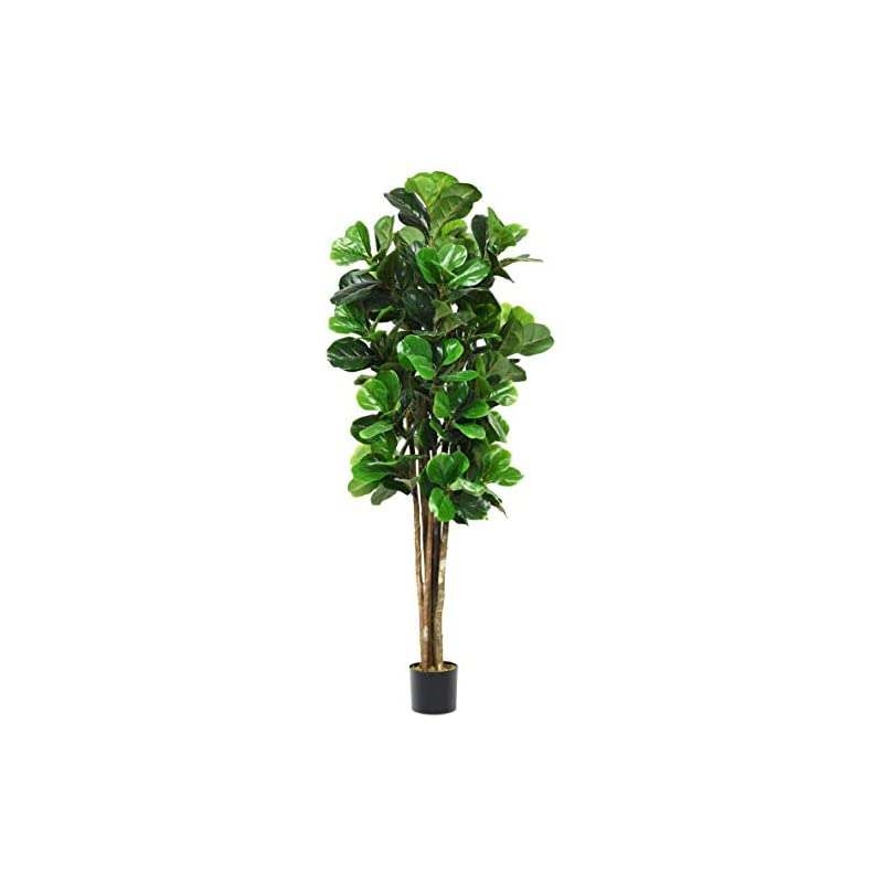 silk flower arrangements goplus fake fiddle leaf fig tree artificial greenery plants in pots decorative trees for home & office (4ft)