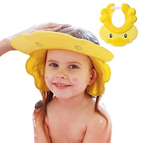 Duschhaube Kinder, Baby Verstellbarer Shampoo Schutz, Shampoo Bade Bad SchüTzen Weiche Kappe Hut, Kappe Wasserdicht Cap für Mehr als 6 Monate(Kopfumfang über 38cm) Gelb