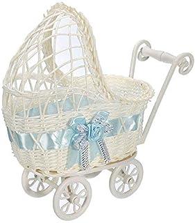 Zeagro Weidenkorb für Kinderwagen, Blumenvase, Aufbewahrung, Organizer für Babyparty, Party, Geschenke, Blau