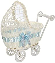 Zeagro Weidenkorb für Kinderwagen, Blumenvase, Aufbewahrung, Organizer, Babyparty, Geschenk, Blau
