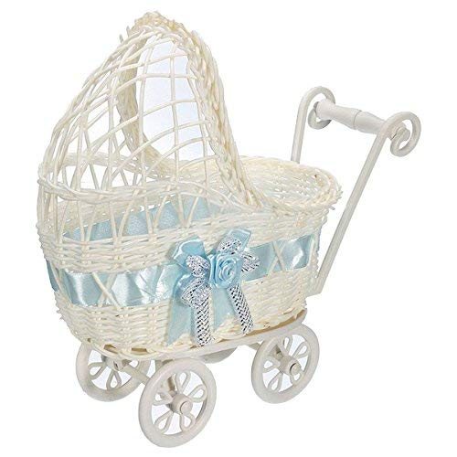 Zeagro Cesta de mimbre para cochecito de bebé, florero, organizador de almacenamiento para fiestas de bebé, color azul