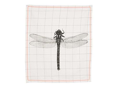 Present Time PT3134 Canevas Grid Dragonfly Coton Blanc/Noir 55 x 65 cm