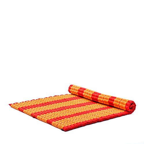 Leewadee Rollbare XXL Thai Matte, 200x145x5 cm, Extrabreite Gästematratze Yogamatte Massagematte Ökologisches Naturprodukt, Kapok, orange rot