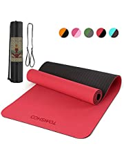 Lixada 72.05×24.01in Portable Double Dual-colored Yoga Mat Thicken Sports Mat Anti-slip Exercise Mat for Fitness Workouts with Carrying Strap and Storage Bag